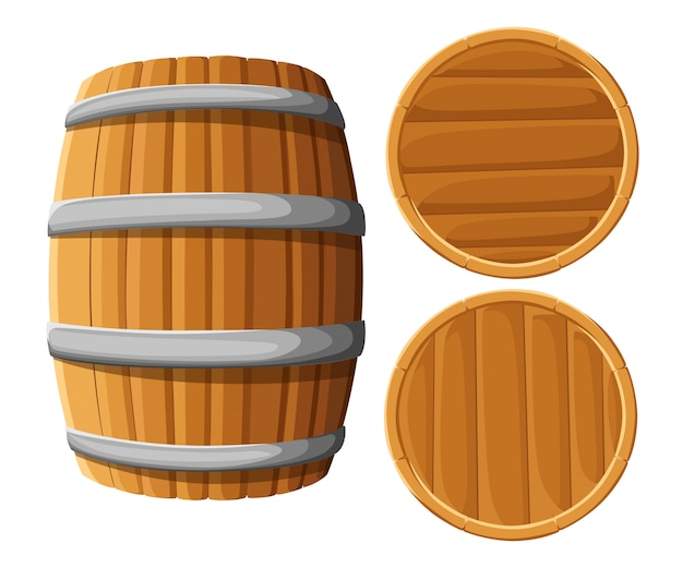 Wooden barrel with iron rings.  on white background.  wood beer barrel. pub and bar menu, alcohol beverage label, brewery symbol