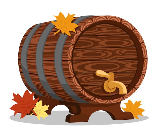 Wooden barrel with a tap for drinks close up