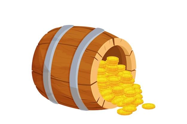 漫画風の宝金貨と木製の樽