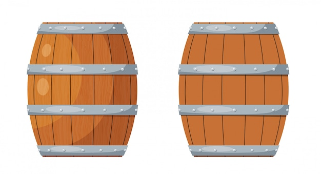 Wooden barrel. wooden wine barrel in the style of a cartoon vector