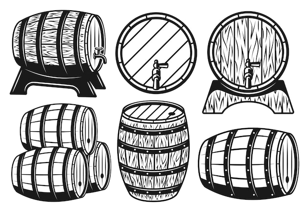 Wooden barrels different variants set of objects
