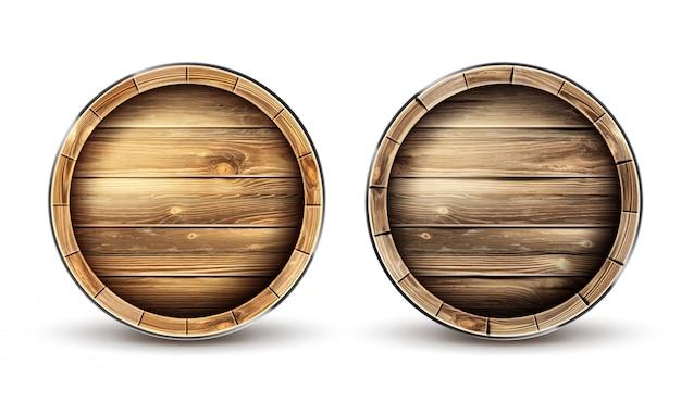 ワイン、ビール、ウイスキーのトップビューの木製の樽