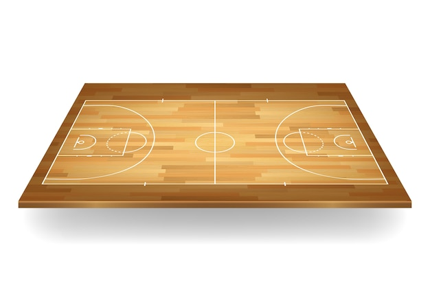 Wooden basketball court background.