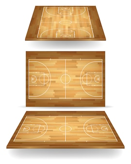 Wooden basketball court with perspective.