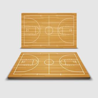 Wooden basketball court
