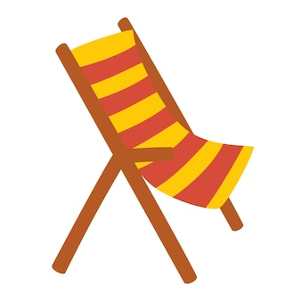 Wooden beach chaise longue vacation and travel concept beach chair in stripes