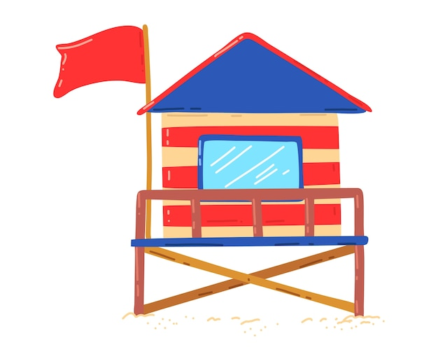 Wooden beach house, hut for active vacation on coast, summer vacation, design cartoon style illustration, isolated on white. surfing at sea, colorful cottage, travel building, graphic drawing