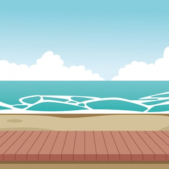 Wooden beach landscape cartoon