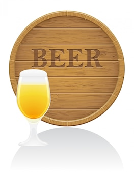 Wooden beer barrel and glass vector illustration
