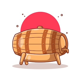 Wooden beer barrel illustration