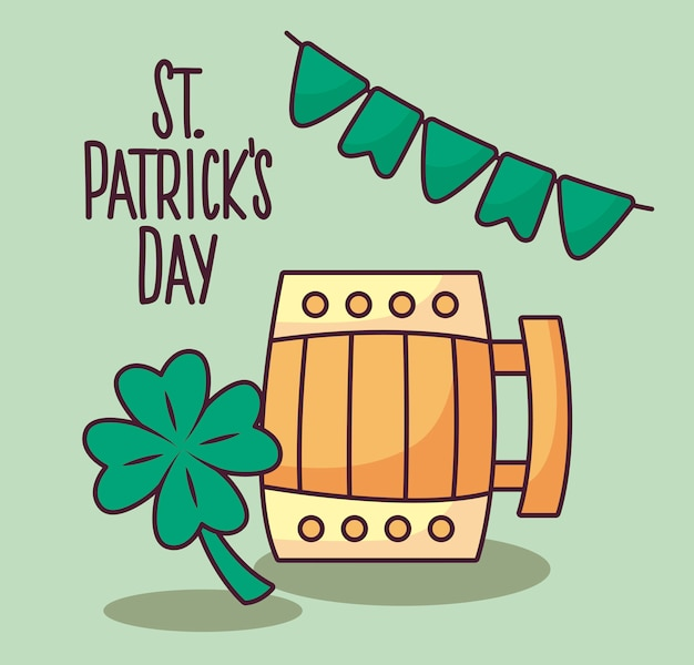 Wooden beer jar with clover of st patrick day
