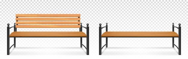 公園や庭のための木製のベンチ。透明な背景に隔離された屋外の快適な休息のための木材と金属からの座席、ベンチのための屋外用家具の現実的なセット