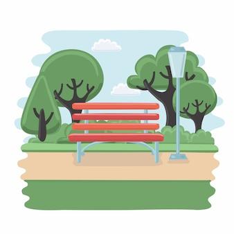 Wooden bench  illustration on white background