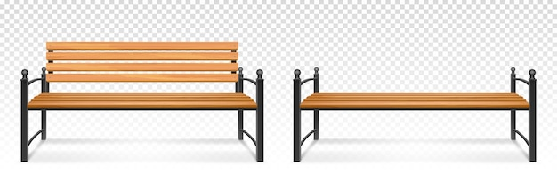 Wooden bench for park or garden. realistic set of outdoor furniture for seat, bench from wood and metal for comfortable rest outside isolated on transparent background