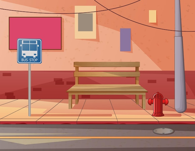 A wooden bench in the sidewalk illustration
