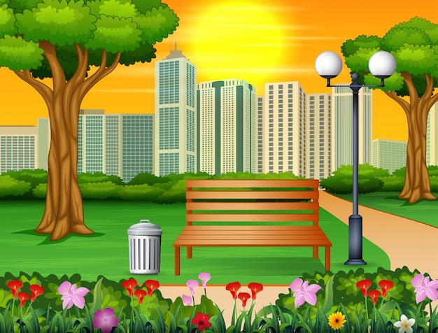 Wooden bench and trash can in city park with skyscrapers