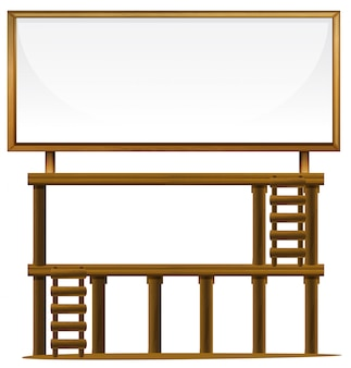 A wooden billboard banner
