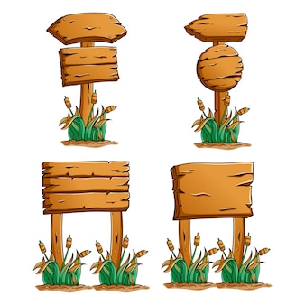 Wooden billboard collection with colored hand drawn style