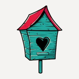 鳥の心を持つ木製の巣箱。