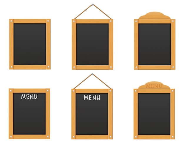 Wooden black menu board blank template