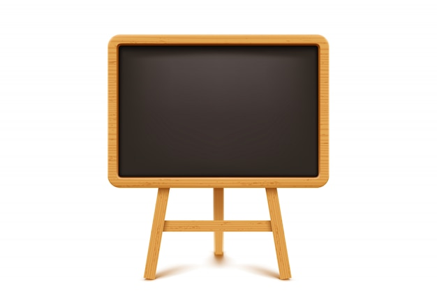 Wooden blackboard on white
