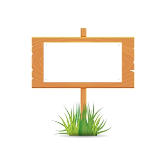 Wooden blank board signs spring time with grass.