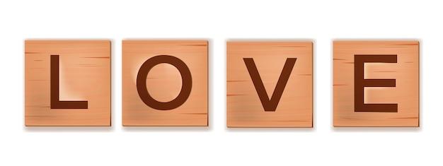 木製のブロック文字、タイルアルファベットワードゲームのスペルの愛は英語で白に分離されました。キューブの正方形のロマンチックな刻まれたパズル。木製の文字でクリエイティブなバレンタインデー