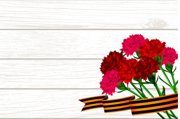 Wooden board for 9 may red carnations st george ribbon