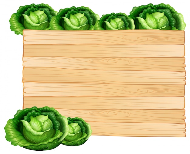 Wooden board and cabbages
