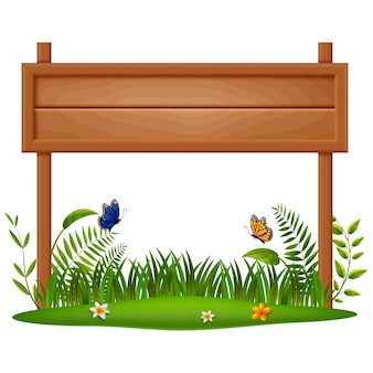 Wooden board on a grass illustration