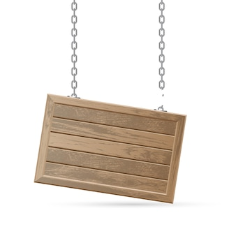 Wooden board with broken chain