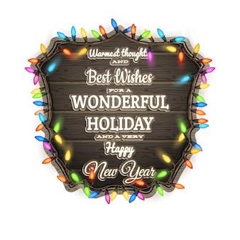 クリスマスの装飾が施された木の板。