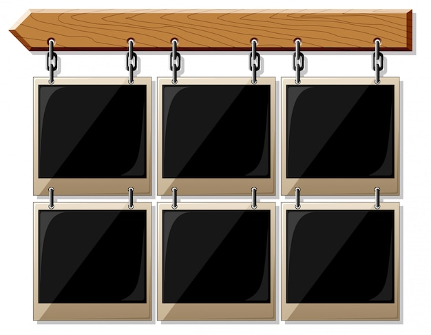 Wooden board with glossy empty frames