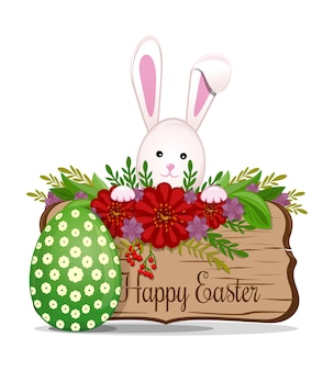 Wooden board with happy easter greeting inscription.spring composition with wooden signboard and easter bunny with easter egg.