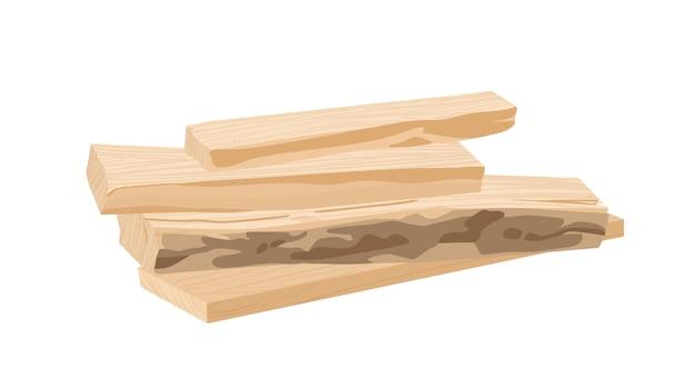 나무 판자, 목재 벡터 일러스트 레이 션. 가공된 나무 줄기 부품, 나무 블랭크. 산업용 목재, 건축 재료. 쓰러진 숲, 흰색 배경에 고립 된 건축 자재.