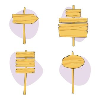 Деревянные доски на палочке плоской коллекции
