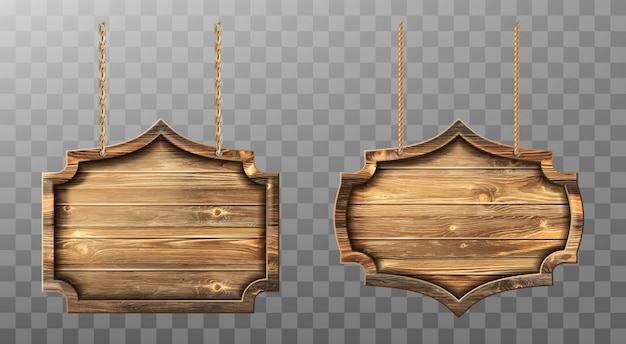 Wooden boards on ropes set. realistic signboards