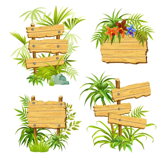 Wooden boards with green plants with space for text.