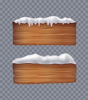 Wooden boards with snow
