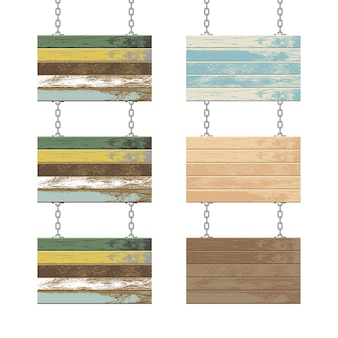 Wooden boards with steel chain  illustration