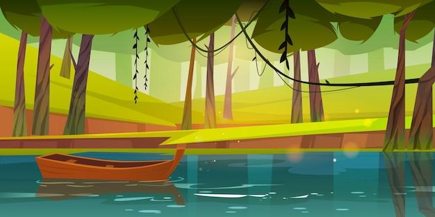 Деревянная лодка плывет по пруду или реке лесного озера
