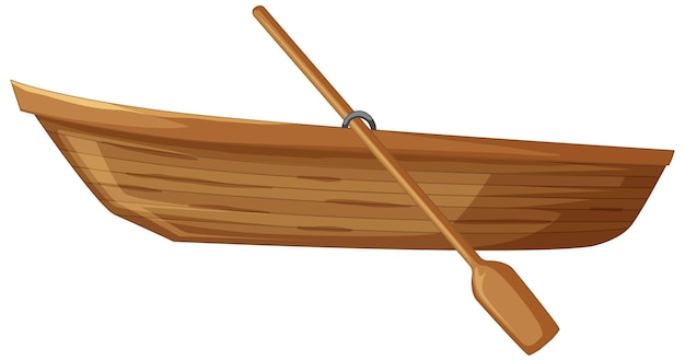 Wooden boat with paddle on white background