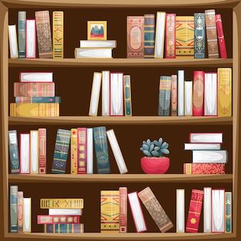 책과 함께 나무 책장입니다. 복고 스타일의 책 등뼈.