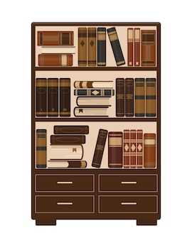 Деревянный книжный шкаф со старыми коричневыми книгами. концепция библиотеки, образования или книжного магазина. иллюстрация.