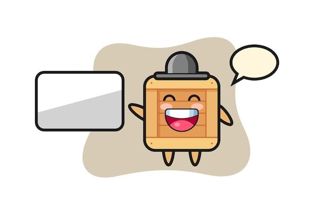 프레젠테이션을 하는 나무 상자 만화 그림, 티셔츠, 스티커, 로고 요소를 위한 귀여운 스타일 디자인