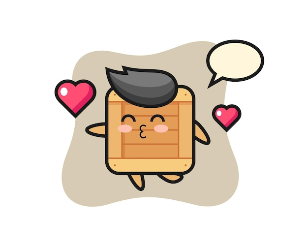 Wooden box character cartoon with kissing gesture , cute style design for t shirt, sticker, logo element