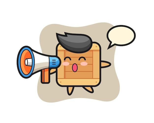 확성기를 들고 있는 나무 상자 캐릭터 그림, 티셔츠, 스티커, 로고 요소를 위한 귀여운 스타일 디자인