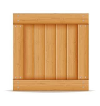 白い背景で隔離の木製漫画イラストで作られた商品の配送と輸送のための木箱