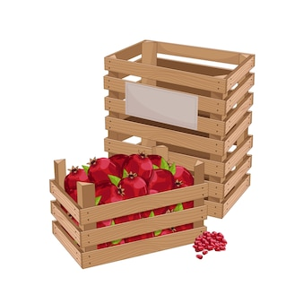 Wooden box full of pomegranate
