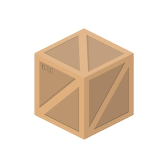 Wooden box isometric. good for design on the topic of delivery and freight